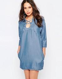 Платье из шамбре со шнуровкой Seafolly - Синий