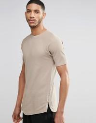 Длинная бежевая футболка с молниями по бокам ASOS - Серебристо-бежевый
