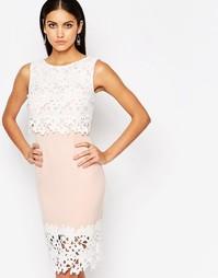 Платье-футляр 2-в-1 с кружевной отделкой-апплике Lipsy