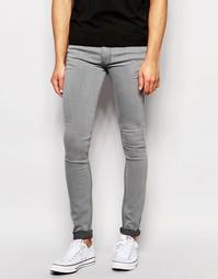 Светло-серые выбеленные джинсы скинни LDN DNM - Серый