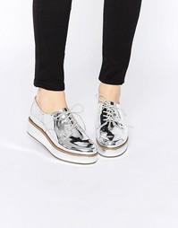 Туфли на шнуровке и плоской платформе ASOS MAVIS - Серебряный