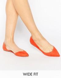 Балетки для широкой стопы с острым носком ASOS LEAPFROG - Красный