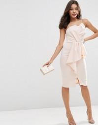 Платье-бандо миди с баской ASOS - Blush