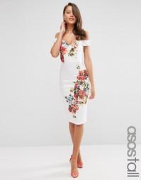 Платье с широким вырезом и винтажным цветочным принтом ASOS TALL