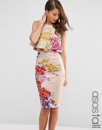 Платье-футляр миди с двойной оборкой и цветочным принтом ASOS TALL