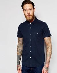 Темно-синяя меланжевая классическая рубашка с короткими рукавами ASOS