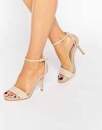 Телесные сандалии на каблуке с эффектом змеиной кожи Dune Madeira
