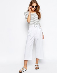 Льняная юбка-шорты с завязкой на талии ASOS - Белый