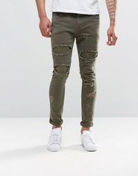 Супероблегающие джинсы цвета хаки с рваной отделкой ASOS - Хаки