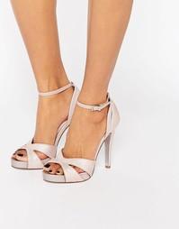 Розовые блестящие сандалии на каблуке с вырезами Faith Lindsay