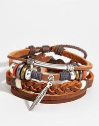 Набор кожаных браслетов с пером ASOS - Коричневый