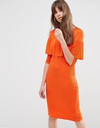 Платье-футляр в рубчик с оборками ASOS - Оранжевый