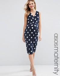 Платье миди в горошек для беременных ASOS Maternity