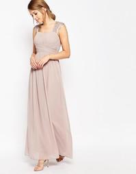 Платье макси с присборенным лифом и кружевными рукавами Little Mistres