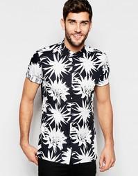 Рубашка с короткими рукавами и монохромным цветочным принтом ASOS