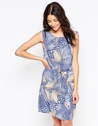Цельнокройное платье с тропическим цветочным принтом Ichi - Синий