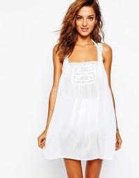 Пляжное платье на бретельках с кружевной отделкой ASOS - Белый