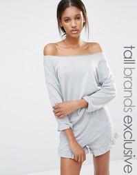 Свободный свитер с открытыми плечами One Day Tall - Серый меланж
