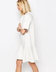 Трикотажное платье с заниженной талией ADPT - Белый
