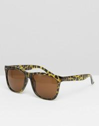 Квадратные солнцезащитные очки с леопардовым принтом Jack & Jones