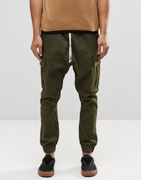 ASOS Drop Crotch Cargo Joggers In Khaki - Хаки