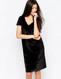 Платье-футляр с короткими рукавами Ichi - Black velour