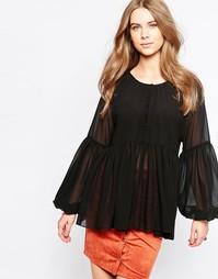 Блузка с плиссированным подолом Minimum Moves - Черный