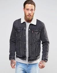 Куртка из черного выбеленного денима с подкладкой борг Levi's Type 3 Levi's®