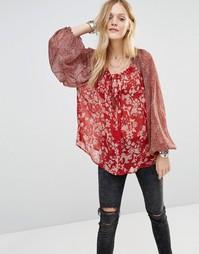 Блузка с цветочным принтом Free People - Красный 6600