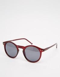 Бордовые солнцезащитные очки в круглой оправе ASOS - Burgundy