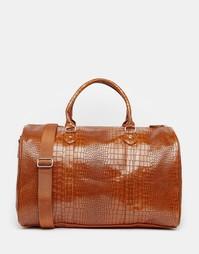 Светло-коричневая строгая сумка с крокодиловым принтом ASOS - Рыжий