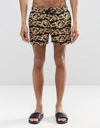 Короткие шорты для плавания с принтом в стиле барокко ASOS - Черный