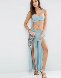 Пляжные брюки с разрезом ASOS - Синий