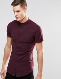 Бордовая трикотажная рубашка скинни с короткими рукавами ASOS