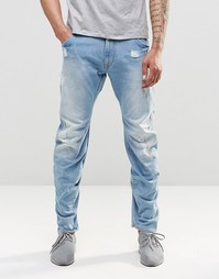 Светлые зауженные джинсы с потертостями G Star Arc 3D - Синий