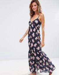 Ярусное пляжное платье макси с тропическим принтом орхидей ASOS