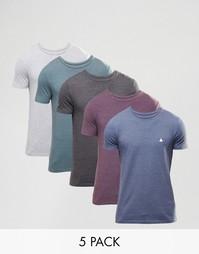 Набор из 5 футболок с логотипом ASOS - СКИДКА 25%