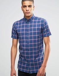 Темно-синяя рубашка слим в клетку с коротким рукавом Minimum