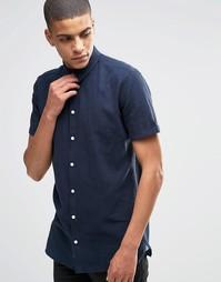 Льняная рубашка слим с короткими рукавами Minimum - Темно-синий