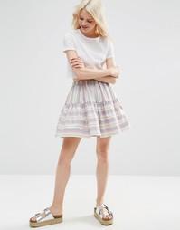 Многоярусная мини-юбка в полоску ASOS - Мульти