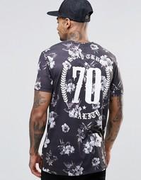 Длинная футболка с цветочным принтом ASOS - Мульти