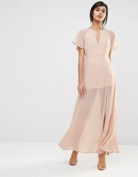 Платье макси с рукавами-бабочка Vero Moda - Розовая пыль