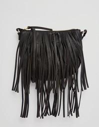 Сумка через плечо с бахромой Monki - Черный