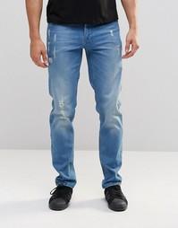 Синие выбеленные узкие джинсы стретч с потертостями ASOS