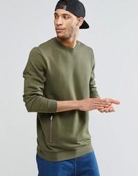 Удлиненный свитшот цвета хаки с карманами на молниях ASOS - Хаки