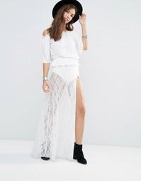 Кружевная юбка макси с трусиками Boohoo - Белый