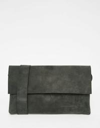 Черная кожаная сумка через плечо ASOS - Черный