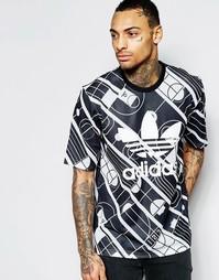 Футболка с принтом adidas Originals AJ7838 - Черный