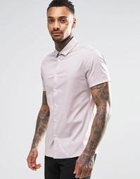Зауженная бледно-розовая рубашка с короткими рукавами ASOS