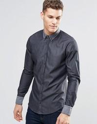 Черная рубашка зауженного кроя на пуговицах BOSS Orange - Черный